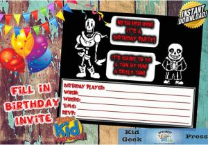 Undertale Birthday Invitations Undertale Fil In Birthday Invitation Featuring Sans Papyrus
