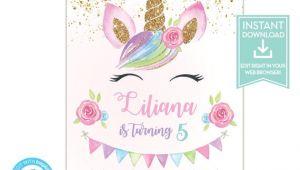 Unicorn Birthday Invitation Template Unicorn Birthday Invitation Template Unicorn Party Etsy