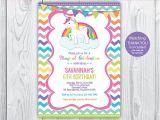 Unicorn Birthday Invitation Wording Rainbow Unicorn Birthday Unicorn Invitation Unicorn