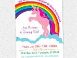 Unicorn Birthday Invitation Wording Unicorn Birthday Party Invitations Rainbow Pink Pony