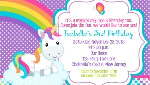 Unicorn Birthday Invitation Wording Unicorn Invitation Personalized Custom Unicorn Rainbow