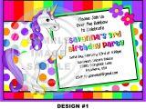 Unicorn Birthday Invitation Wording Unicorn Invitation Rainbow Invitation Pony Invitation