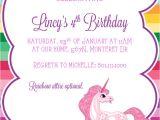 Unicorn Birthday Invitation Wording Unicorn Invitations Template Best Template Collection