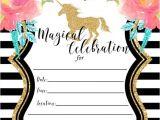 Unicorn Birthday Invites Free Free Printable Golden Unicorn Birthday Invitation Template