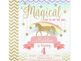 Unicorn Invitations for Birthday Party Magical Rainbow Unicorn Birthday Party Invitation Zazzle Com