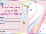 Unicorn Invitations for Birthday Party Unicorn theme Birthday Party Invitations Kids Invites