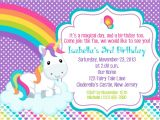 Unicorn Party Invitation Wording Unicorn Invitation Personalized Custom Unicorn Rainbow