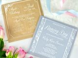 Unique Baptismal Invitation Engraved Square Acrylic Christening Invitations Engraved