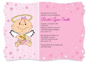 Unique Baptismal Invitation for Baby Girl Angel Girl Custom Invitations Printed Personalized