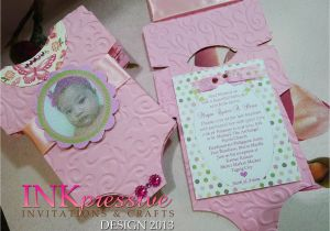 Unique Baptismal Invitation for Baby Girl Pink Baby Esie Baptism Invitation