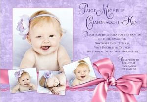 Unique Baptismal Invitation for Baby Girl Purple Baptism Invitation Pretty Pink Baby Girl