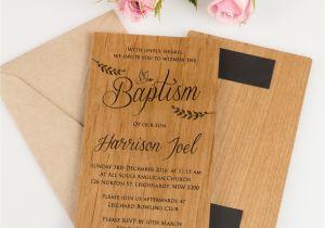 Unique Invitation for Baptism 11b Engraved Wooden Christening Baptism Invitations