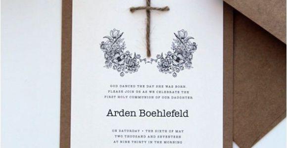 Unique Invitation for Baptism Rustic Baptism Invitations Christening Invitation First