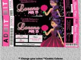 Unique Invitations for Quinceaneras Fuschia Quinceanera Invite Ticket Pink Quince