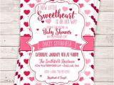 Valentine S Day Baby Shower Invitations Printable Little Sweetheart Baby Shower Invitation
