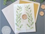 Vellum Wrap for Wedding Invitations Laurel Watercolor Wedding Invitation Vellum Wrap Wax Seal