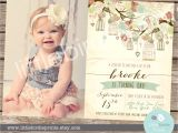 Vintage 1st Birthday Party Invitations Rustic Birthday Invitation Bird Cage Birdcage Birthday