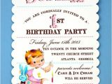 Vintage 1st Birthday Party Invitations Vintage First Birthday Girl Invitations by Loralee Lewis
