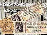 Vintage Hollywood Wedding Invitations Old Hollywood Movie theatre Party Wedding Golden Ticket