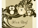 Vintage Owl Baby Shower Invitations Brown Vintage Owl Family Baby Shower Invitation