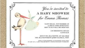 Vintage Stork Baby Shower Invitations Vintage Stork Baby Shower Invitation Baby Girl Stork Shower