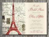 Vintage themed Bridal Shower Invitations Vintage Red Paris themed Bridal Shower Invitation