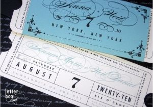 Vintage Ticket Style Wedding Invitations formal Vintage Ticket Wedding Invitation