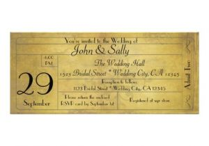 Vintage Ticket Style Wedding Invitations Vintage Old Style Wedding Ticket Invitation 4 Quot X 9 25