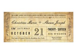 Vintage Ticket Style Wedding Invitations Vintage Style Wedding Ticket Invitation Zazzle