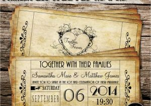 Vintage Ticket Style Wedding Invitations Vintage Ticket Wedding Invitations Printable Diy Jpeg Pdf