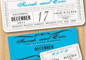 Vintage Ticket Style Wedding Invitations Vintage Wedding Ticket Style Invitations Diy Set