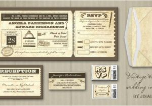 Vintage Ticket Style Wedding Invitations Vintage Wedding Wedding Invitations by Jinaiji Page 2