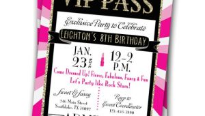 Vip Pass Birthday Invitations Free Vip Pass Invitation Glitz Glamour Rock Star Party Printable
