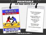 Vip Pass Birthday Invitations Free Wrestling Match Vip Pass Invitations Printable Boy Birthday