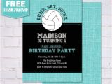 Volleyball Party Invitations Birthday Party Invitations Volleyball Birthday Party