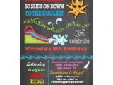 Water Slide Birthday Party Invitations Chalkboard Water Slide Pool Birthday Party 5×7 Paper
