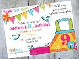 Water Slide Birthday Party Invitations Water Slide Luau Birthday Invitation Printable by Luvbugdesign