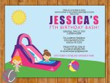 Water Slide Birthday Party Invitations Waterslide Birthday Party Invite Girl S Pink Purple Pool