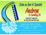 Water Slide Party Invitations Pool Party Invitation Green Water Slide and Blue Water