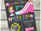 Water Slide Party Invitations Waterslide Birthday Party Bash Invitation Chalkboard Girl
