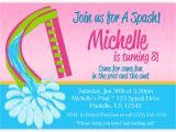 Water Slide Party Invitations Wording Pool Invitation Hot Pink Lime Green Water Slide by