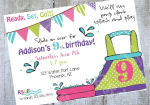 Water Slide Party Invitations Wording Water Slide Birthday Invitation Printable Party by