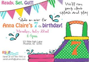 Water Slide Party Invitations Wording Water Slide Birthday Party Invite Printable Party by