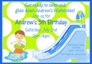 Water Slide Party Invitations Wording Waterslide Birthday Invitation Waterslide Birthday Party
