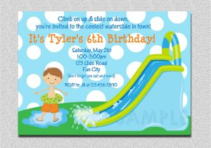 Water Slide Party Invitations Wording Waterslide Birthday Invitations Water Slide Birthday Party