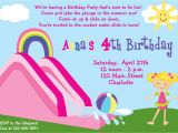 Water Slide Party Invitations Wording Waterslide Party Birthday Invitation Pool by thebutterflypress
