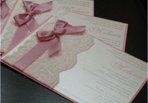 Wedding and Baptism Invitation Gracy Lace Invitation Pink Baptism Invitation