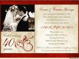 Wedding Anniversary Invitation Templates Fashionable 40th Anniversary Invitation 1 Photo L 01 Jpg