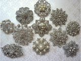 Wedding Invitation Brooches 8 Pc Brooch Large Ex Large Silver Pewter Crystal