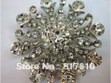 Wedding Invitation Brooches Rhodium Plated Clear Rhinestone Jewelry Large Flower